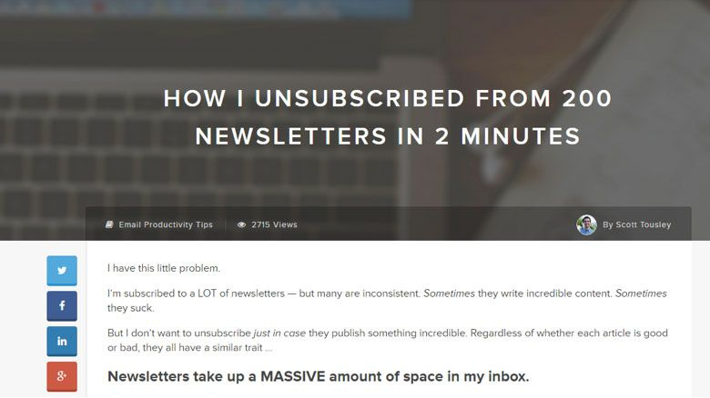 san diego content marketing - how i unsubscribed newsletters