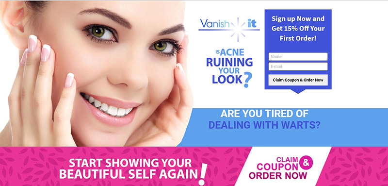 Landing Page vs Website. Landing page example from Vanishitforever.com