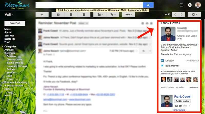 Rapportive Extension in Gmail