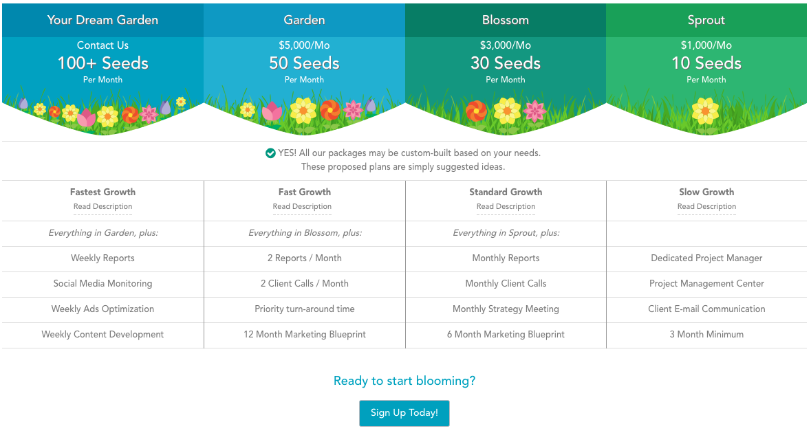 Points pricing and credits, our new seeds growth marketing plans