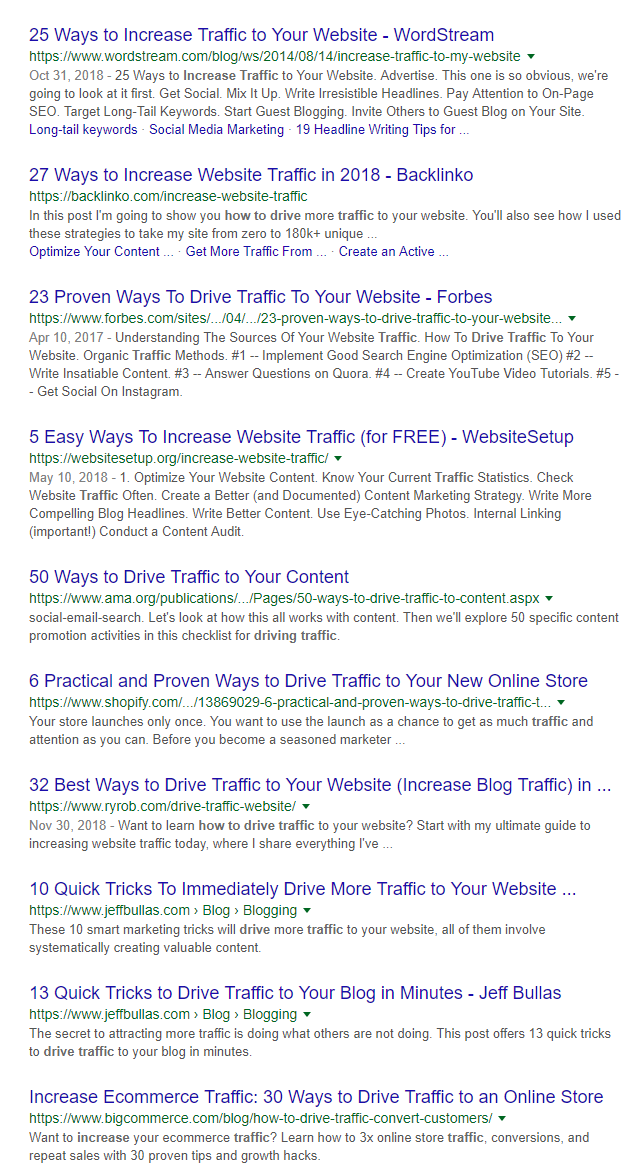 traffic search