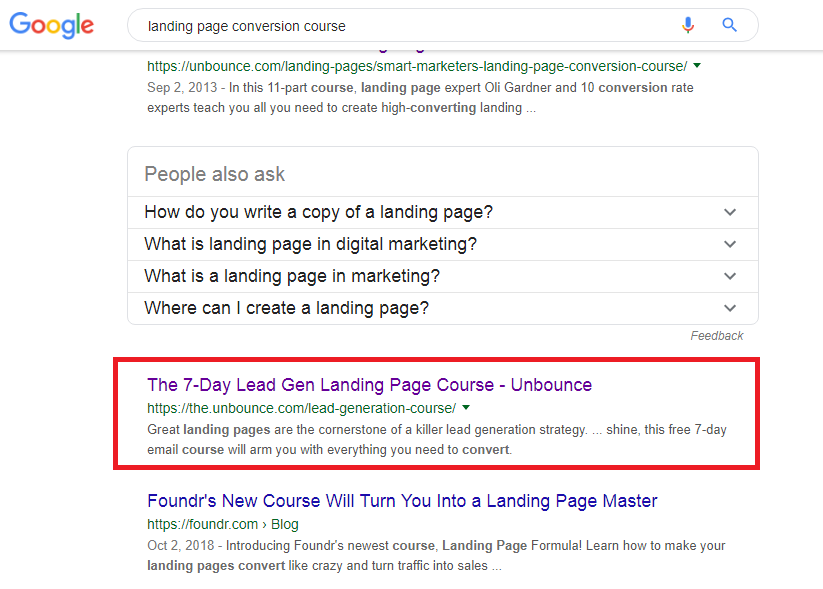 Landing page conversion course